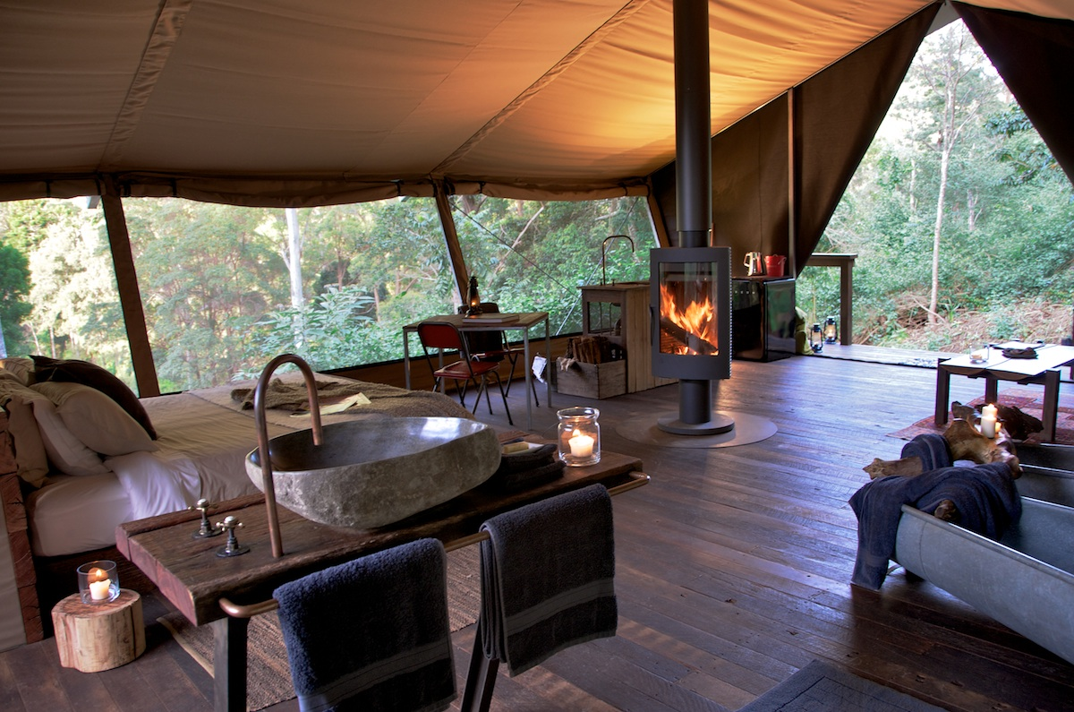 inside nightfall wilderness camp glamping tents